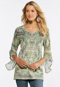 Plus Size Bouquet Bell Sleeve Top