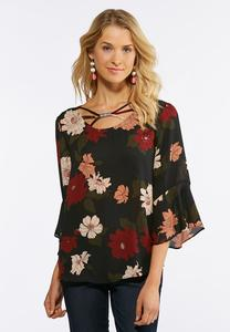 Plus Size Embellished Wine Floral Top