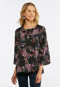 Plus Size Floral Paisley Lace Trim Top
