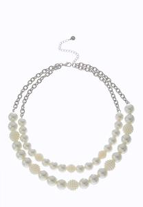 Two Row Pearl Beaded Necklace