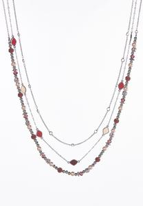 Wine Bead Layered Necklace