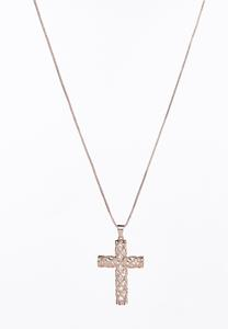 Caged Cross Pendant Necklace