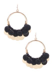 Pom Pom Disc Hoop Earrings