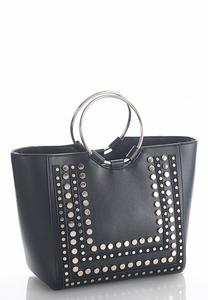 Ring Handle Studded Tote