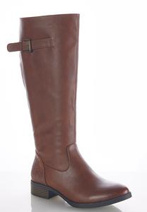 Wide Width Embossed Back Riding Boots