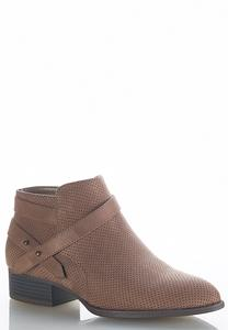 Wide Width Perforated Pointed Ankle Boots