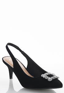Wide Width Embellished Slingback Kitten Heels