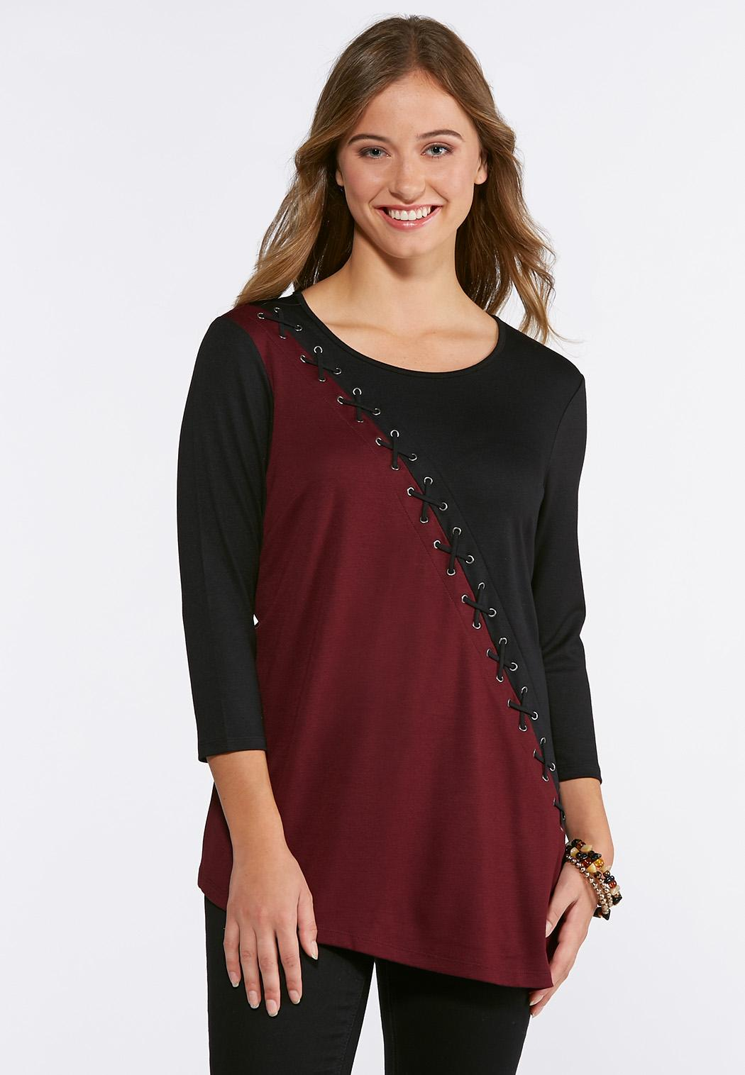 Ponte Lace Up Top Tees Knit Tops Cato Fashions