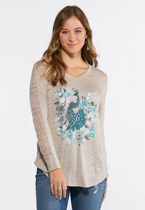 Plus Size Lace Sleeve Peacock Top