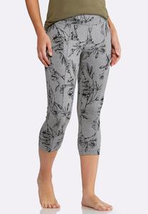 Cropped Gray Floral Leggings
