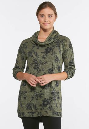 Floral Cowl Neck Pullover Top | Tuggl