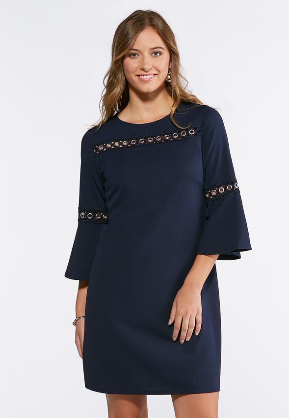 Grommet Bell Sleeve Shift Dress Junior/Misses Cato Fashions