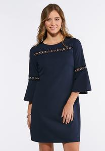 Grommet Bell Sleeve Shift Dress