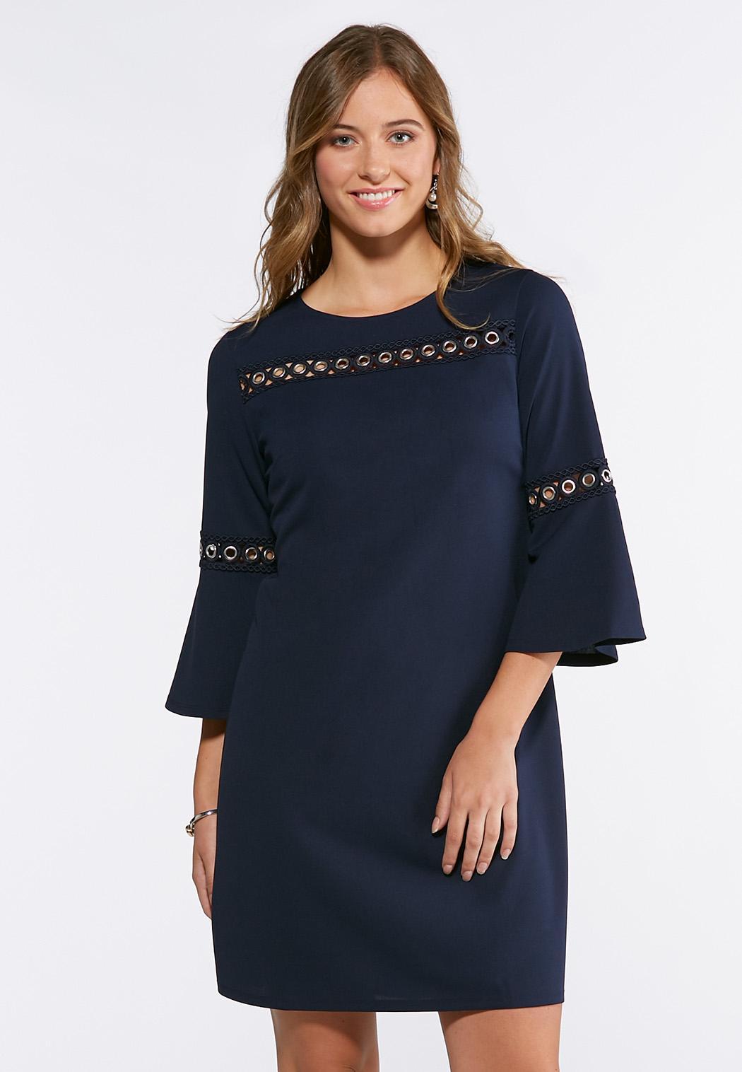 Plus Size Grommet Bell Sleeve Shift Dress Plus Sizes Cato Fashions