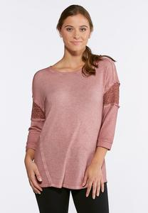 Plus Size Lace Sleeve Sweatshirt
