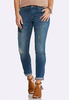 Double Roll Skinny Ankle Jeans