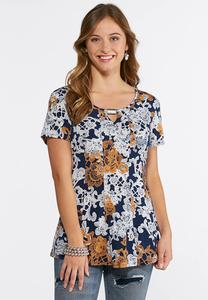 Plus Size Embellished Spiced Floral Top