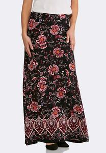 Plus Size Floral Puff Print Maxi Skirt