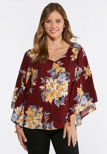 Plus Size Extreme Bell Sleeve Poet Top