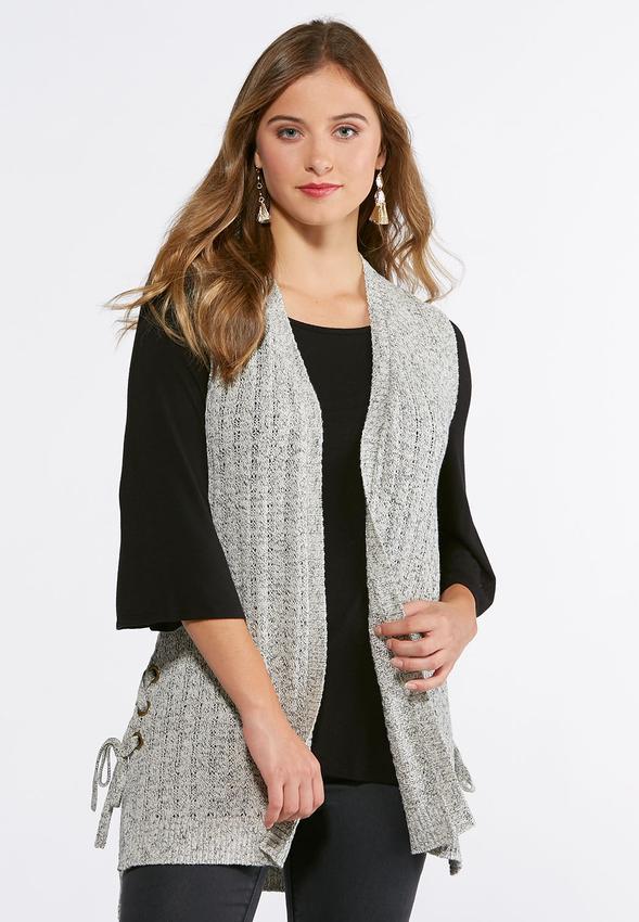 Plus Size Grommet Side Sweater Vest Vests Cato Fashions