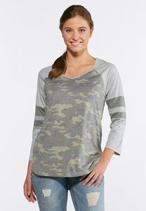 Camo Stripe Sleeve Top