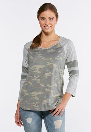 Plus Size Camo Stripe Sleeve Top