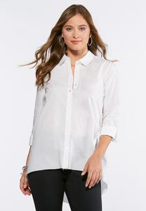 Plus Size High-Low Poplin Tunic