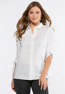 Plus Size Scrunch Sleeve Poplin Shirt