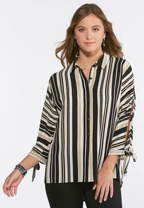 Plus Size Neutral Stripe Boyfriend Shirt