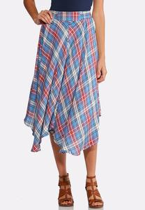 Plaid Pull-On Midi Skirt