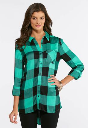 Green Plaid Boyfriend Tunic