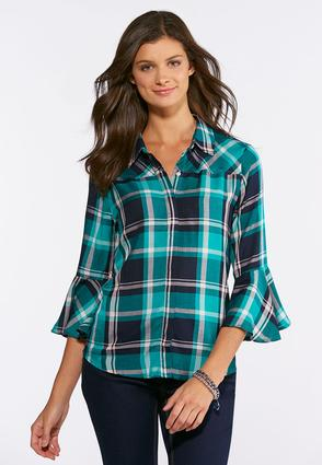Plus Size Plaid Bell Sleeve Shirt
