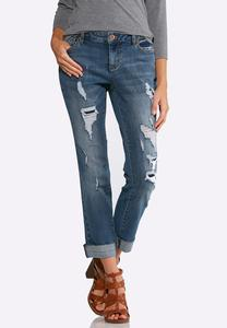 Distressed Cuffed Jeans