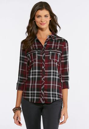 Plus Size Wine Plaid Button Down Shirt