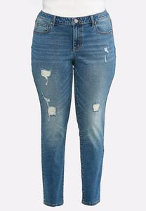 Plus Size Distressed Skinny Stretch Jeans
