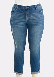 Plus Size Double Roll Skinny Ankle Jeans