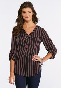 Plus Size Raspberry Stripe Crepe Top