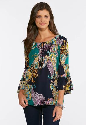 Jeweled Paisley Poet Top