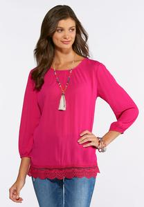 Plus Size Crepe Lace Hem Top