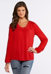 Plus Size Gauze Ladder Stitch Top