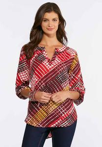 Brushed Houndstooth Pullover Top
