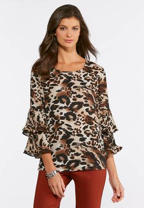 Plus Size Leopard Pleated Sleeve Top