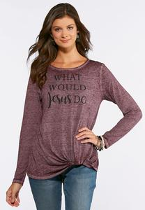 Plus Size WWJD Twist Front Top