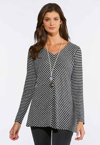 Plus Size Mitered Stripe Swing Top