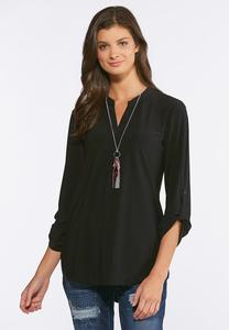 Plus Size Soft Stretch Solid Popover Top
