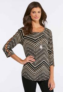Plus Size Chevron Puff Print Top