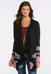 Chevron Border Cardigan Sweater