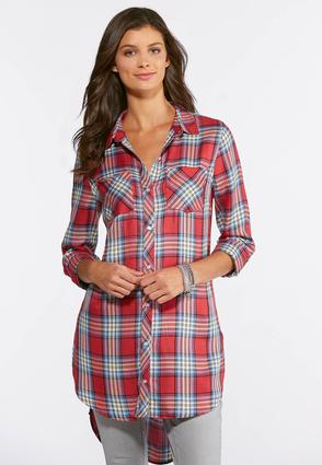 Plus Size Pink Plaid High- Low Tunic