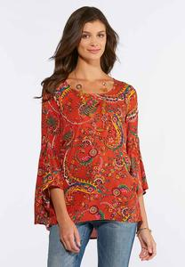 Plus Size Floral Paisley Bell Sleeve Top