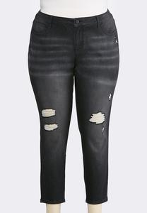 Plus Size Distressed Black Wash Jeans